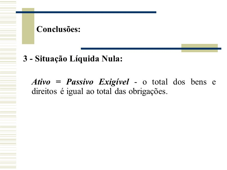Conclusões: 3 - Situação Líquida Nula: Ativo = Passivo Exigível - o total dos bens e direitos é igual ao total das obrigações.