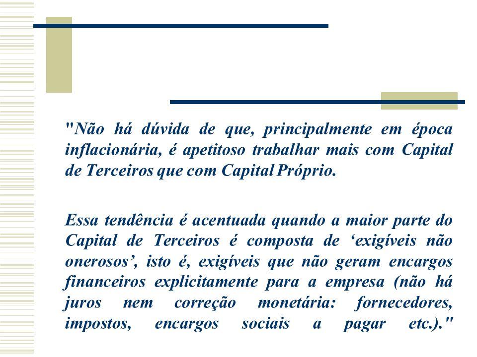 Não há dúvida de que, principalmente em época inflacionária, é apetitoso trabalhar mais com Capital de Terceiros que com Capital Próprio.