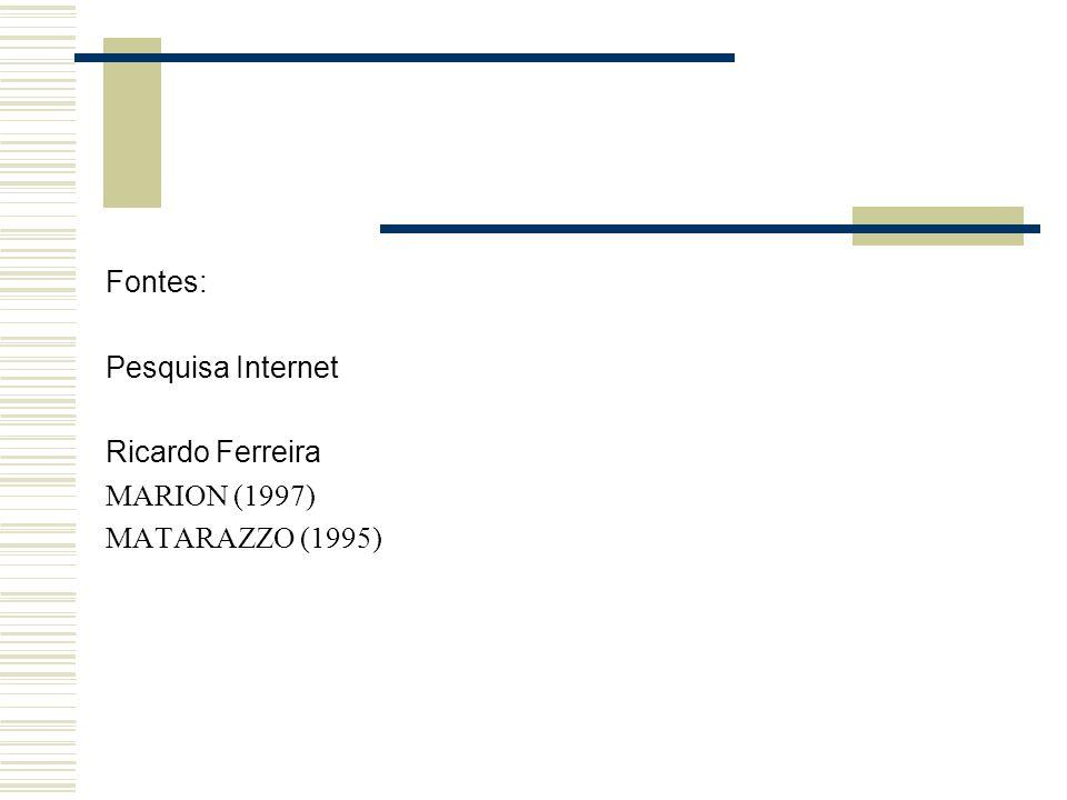Fontes: Pesquisa Internet Ricardo Ferreira MARION (1997) MATARAZZO (1995)