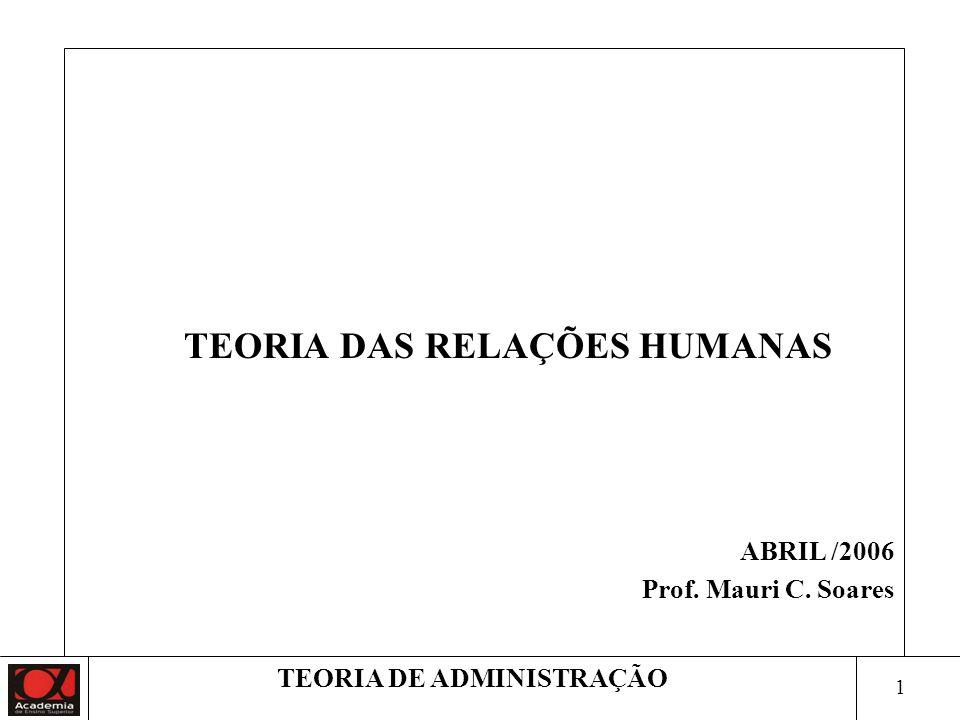 TEORIA DAS RELAÇÕES HUMANAS ABRIL /2006 Prof. Mauri C. Soares