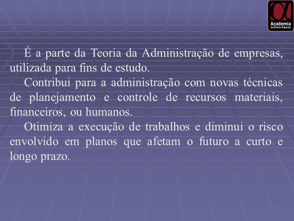 É a parte da Teoria da Administração de empresas, utilizada para fins de estudo.