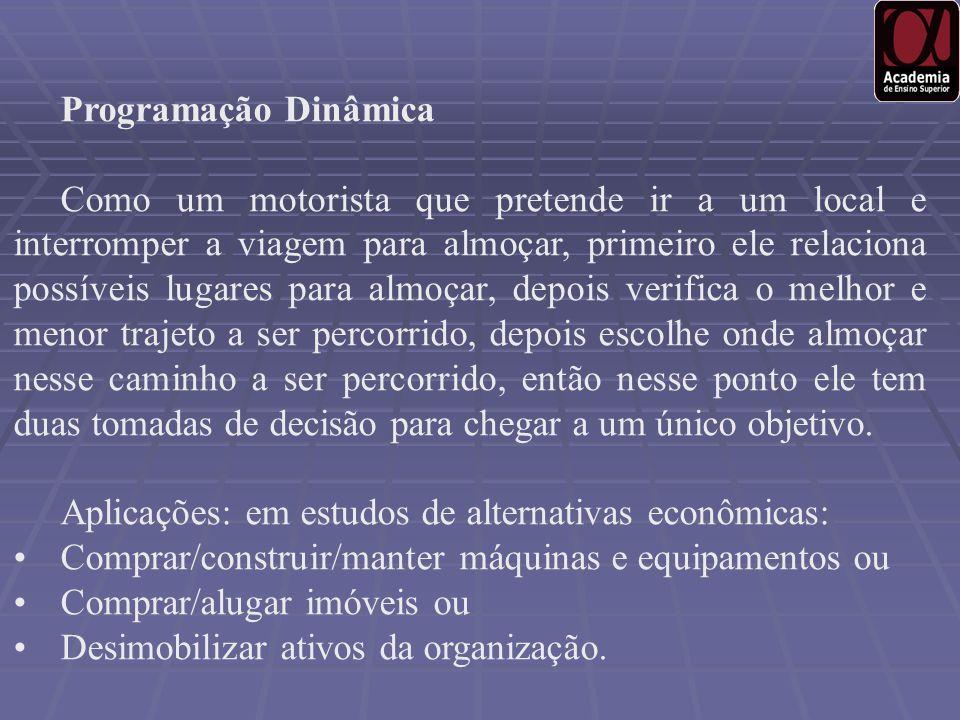 Aplicações: em estudos de alternativas econômicas: