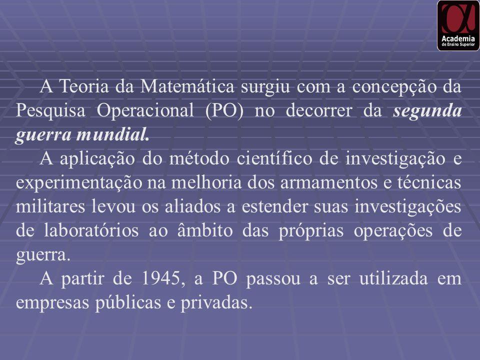 A Teoria da Matemática surgiu com a concepção da Pesquisa Operacional (PO) no decorrer da segunda guerra mundial.
