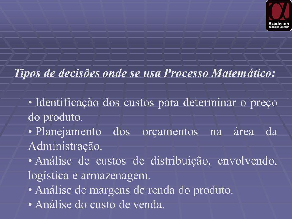 Tipos de decisões onde se usa Processo Matemático: