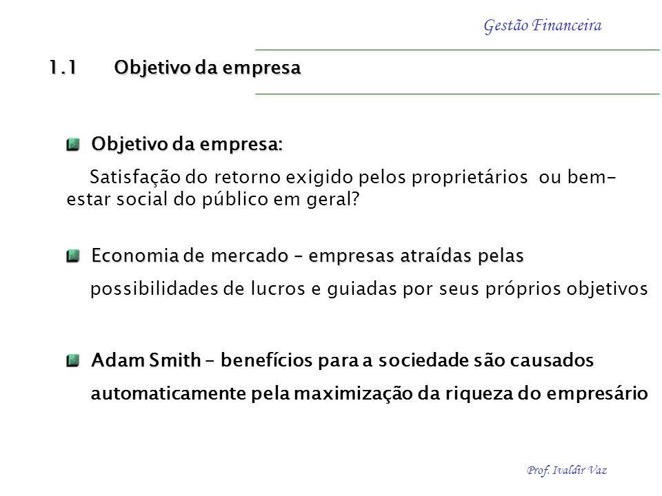 1.1 Objetivo da empresa Objetivo da empresa: Satisfação do retorno exigido pelos proprietários ou bem-estar social do público em geral