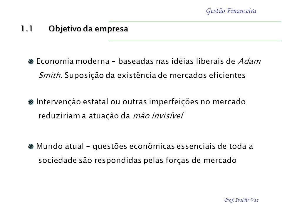 1.1 Objetivo da empresa Economia moderna – baseadas nas idéias liberais de Adam. Smith. Suposição da existência de mercados eficientes.