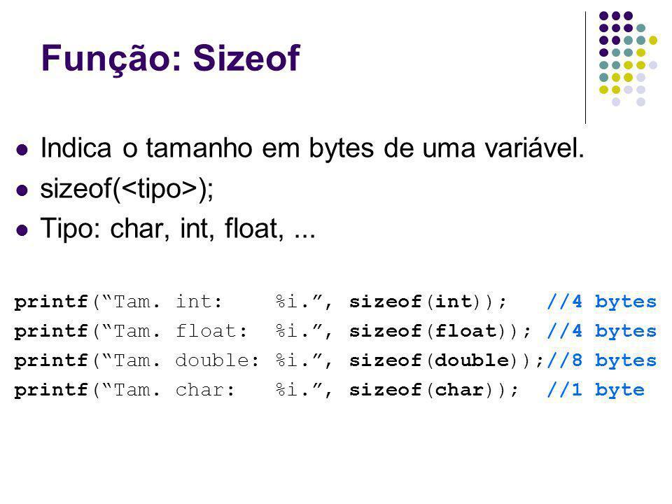 Função: Sizeof Indica o tamanho em bytes de uma variável.