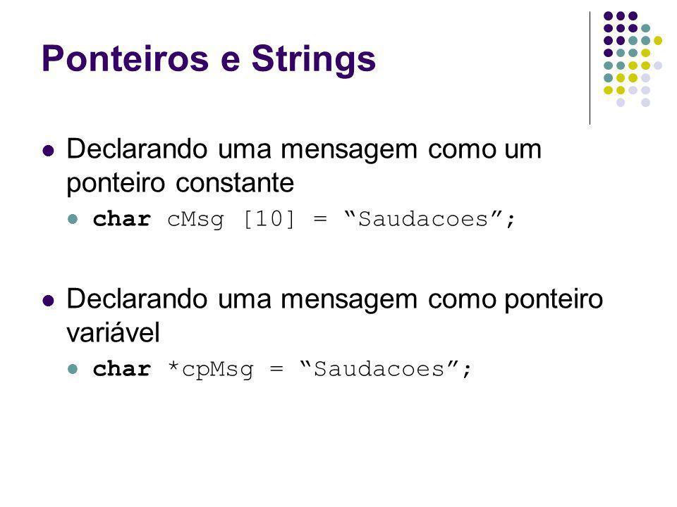 Ponteiros e Strings Declarando uma mensagem como um ponteiro constante