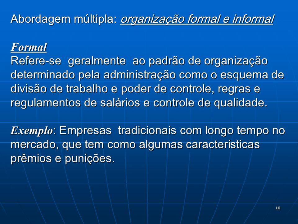 Abordagem múltipla: organização formal e informal