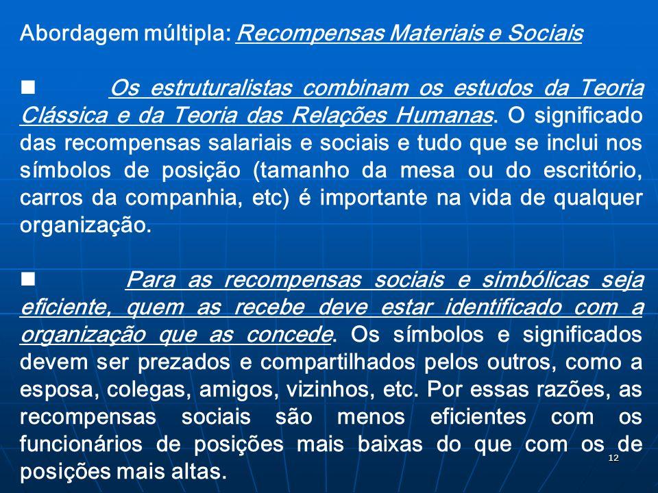 Abordagem múltipla: Recompensas Materiais e Sociais