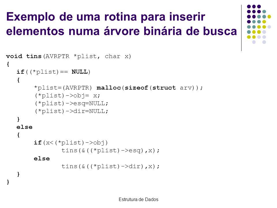 Exemplo de uma rotina para inserir elementos numa árvore binária de busca