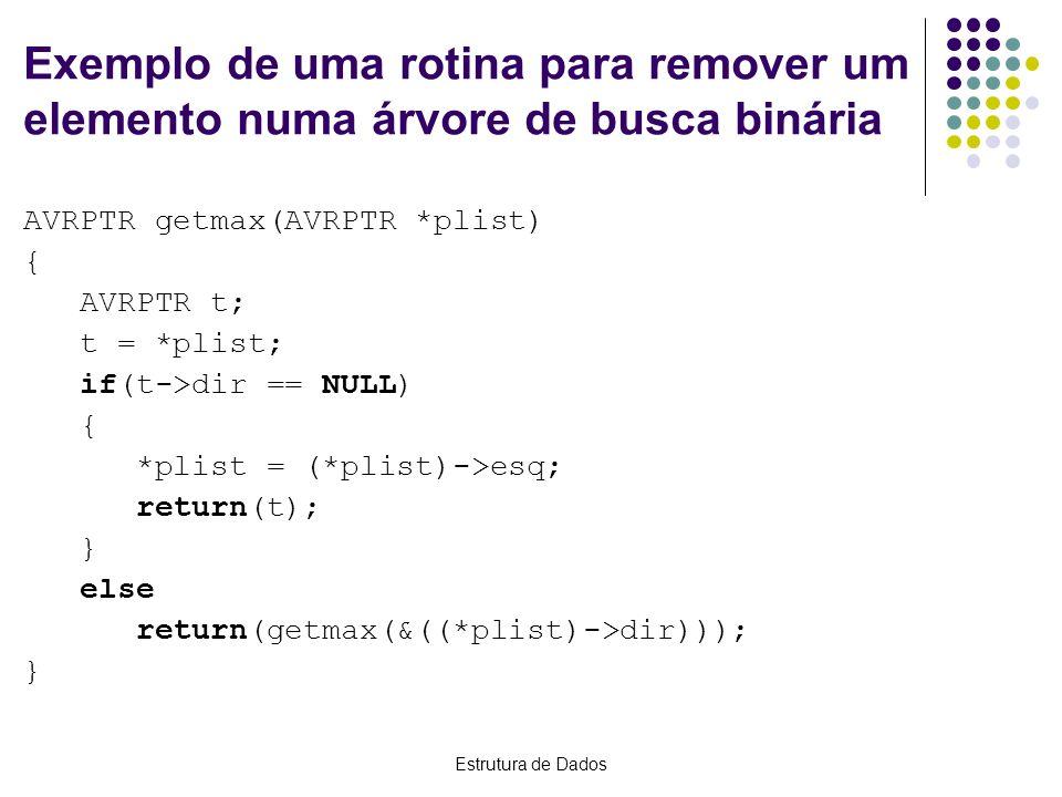 Exemplo de uma rotina para remover um elemento numa árvore de busca binária