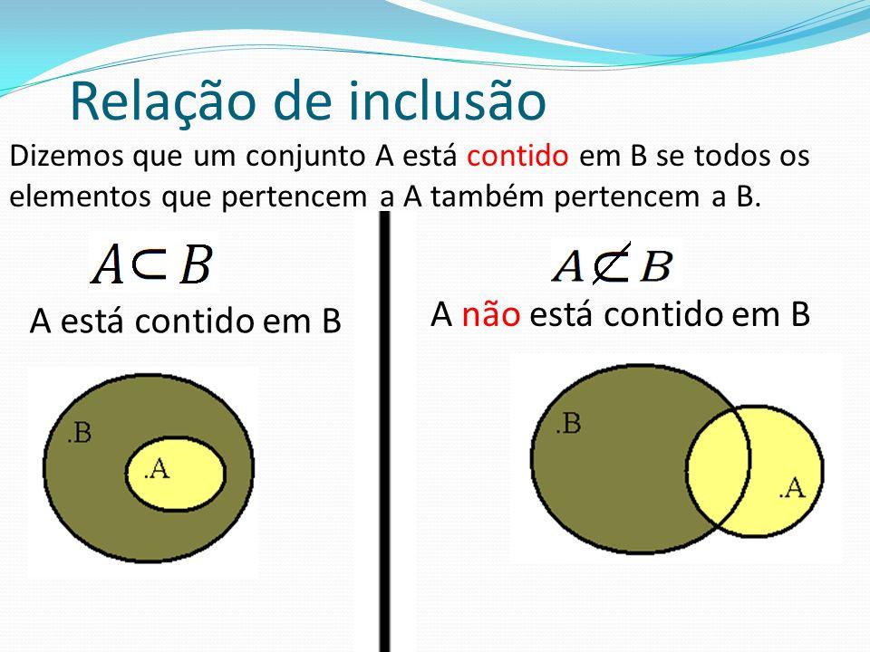 Relação de inclusão A não está contido em B A está contido em B