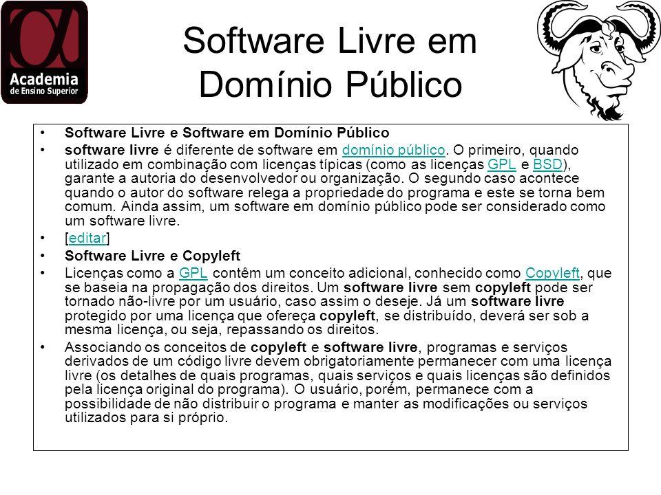 Software Livre em Domínio Público