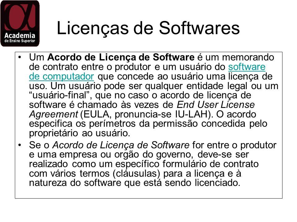 Licenças de Softwares