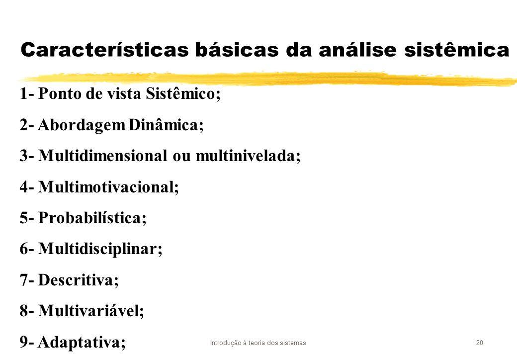 Características básicas da análise sistêmica