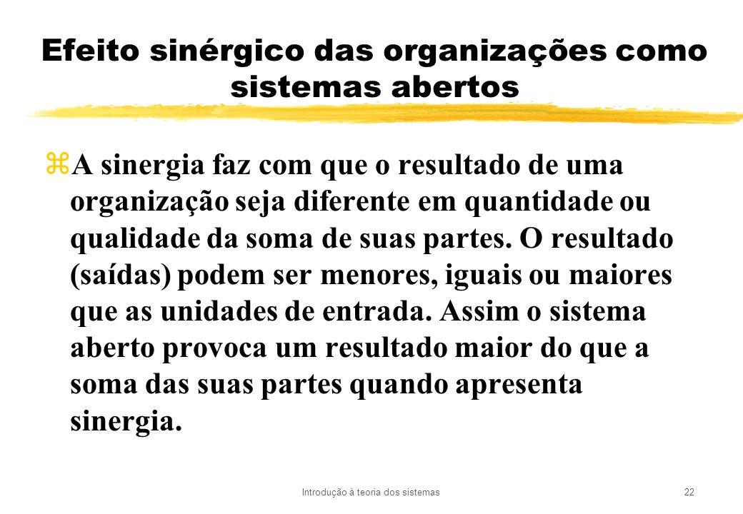 Efeito sinérgico das organizações como sistemas abertos