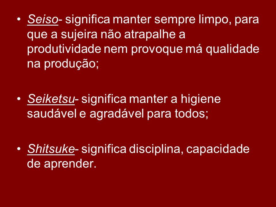 Seiso- significa manter sempre limpo, para que a sujeira não atrapalhe a produtividade nem provoque má qualidade na produção;