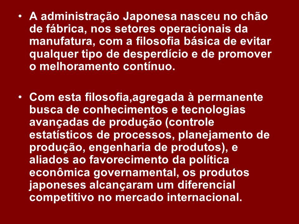 A administração Japonesa nasceu no chão de fábrica, nos setores operacionais da manufatura, com a filosofia básica de evitar qualquer tipo de desperdício e de promover o melhoramento contínuo.