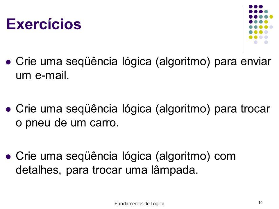 Exercícios Crie uma seqüência lógica (algoritmo) para enviar um e-mail. Crie uma seqüência lógica (algoritmo) para trocar o pneu de um carro.
