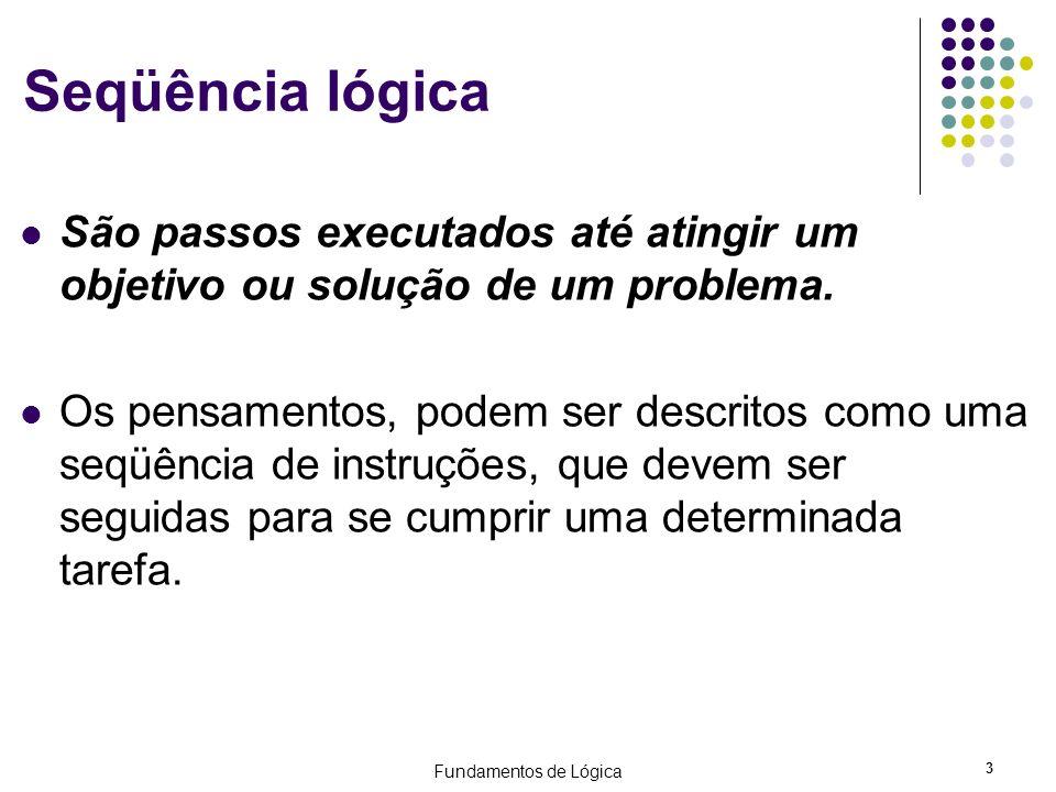 Seqüência lógica São passos executados até atingir um objetivo ou solução de um problema.