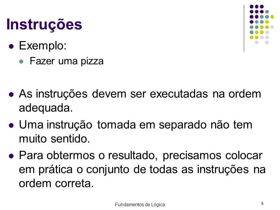 Instruções Exemplo: Fazer uma pizza. As instruções devem ser executadas na ordem adequada. Uma instrução tomada em separado não tem muito sentido.