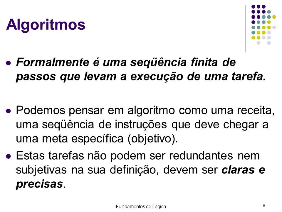 Algoritmos Formalmente é uma seqüência finita de passos que levam a execução de uma tarefa.