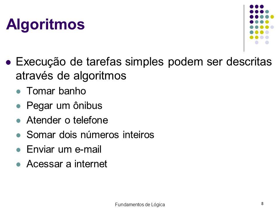 Algoritmos Execução de tarefas simples podem ser descritas através de algoritmos. Tomar banho. Pegar um ônibus.