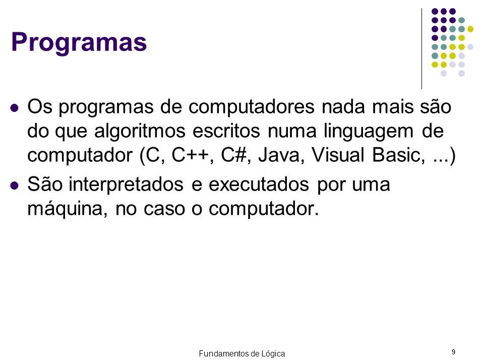 Programas Os programas de computadores nada mais são do que algoritmos escritos numa linguagem de computador (C, C++, C#, Java, Visual Basic, ...)