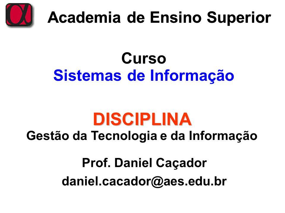 DISCIPLINA Academia de Ensino Superior Curso Sistemas de Informação