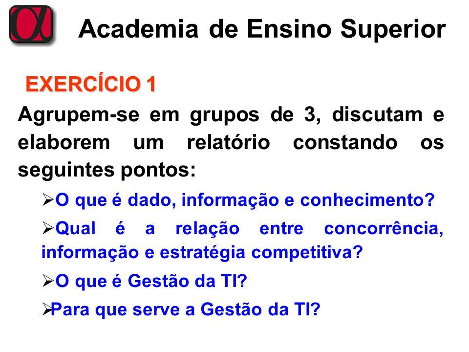 EXERCÍCIO 1 Agrupem-se em grupos de 3, discutam e elaborem um relatório constando os seguintes pontos:
