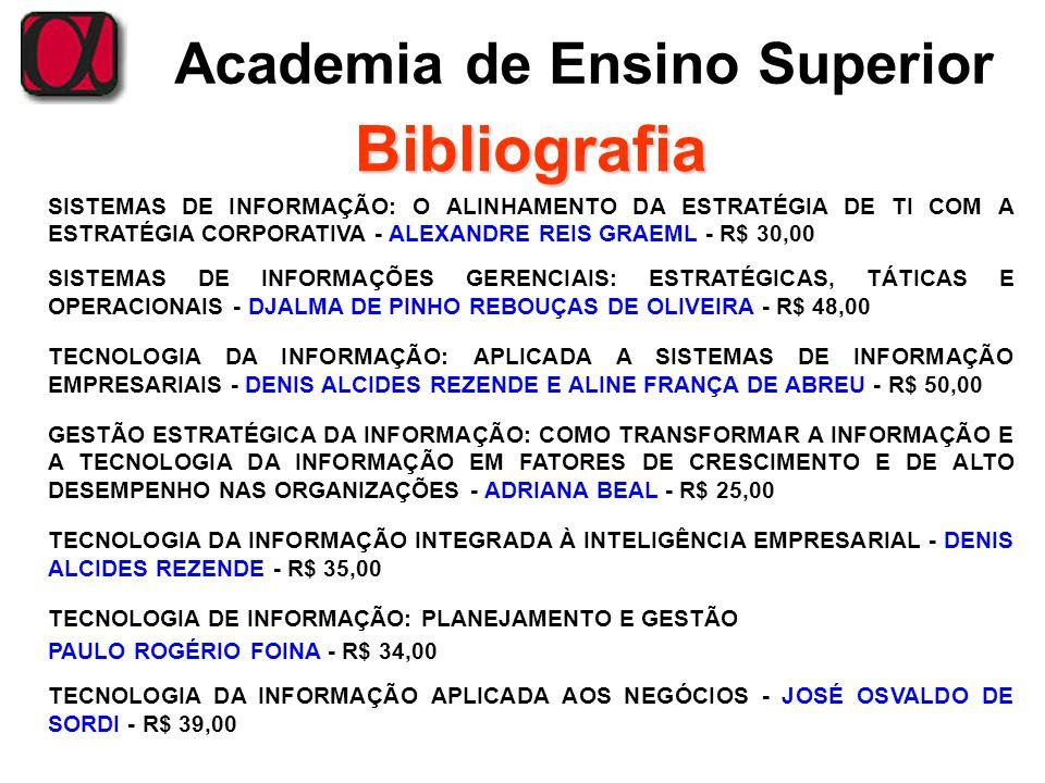 Bibliografia SISTEMAS DE INFORMAÇÃO: O ALINHAMENTO DA ESTRATÉGIA DE TI COM A ESTRATÉGIA CORPORATIVA - ALEXANDRE REIS GRAEML - R$ 30,00.