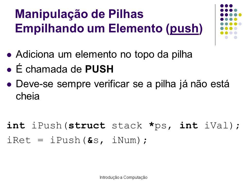 Manipulação de Pilhas Empilhando um Elemento (push)