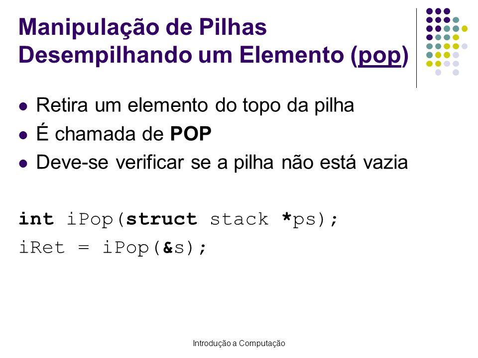 Manipulação de Pilhas Desempilhando um Elemento (pop)