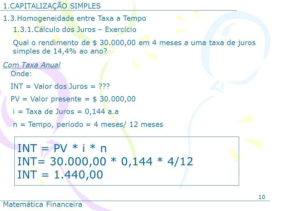 INT = PV * i * n INT= 30.000,00 * 0,144 * 4/12 INT = 1.440,00