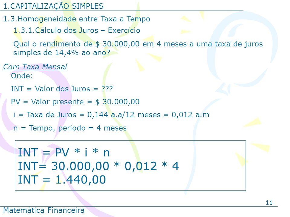 INT = PV * i * n INT= 30.000,00 * 0,012 * 4 INT = 1.440,00