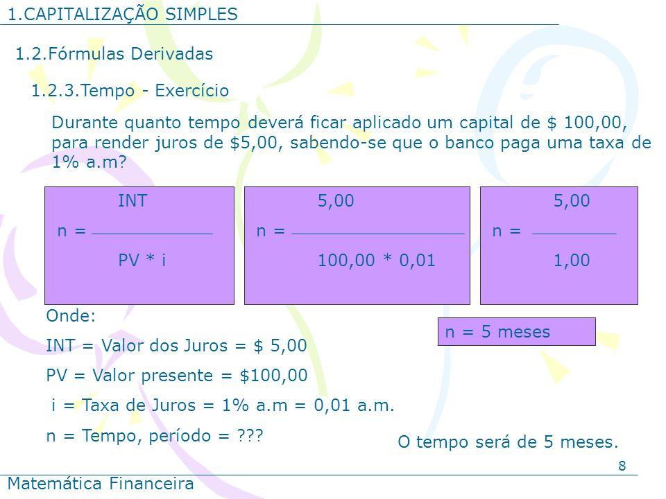 1.CAPITALIZAÇÃO SIMPLES