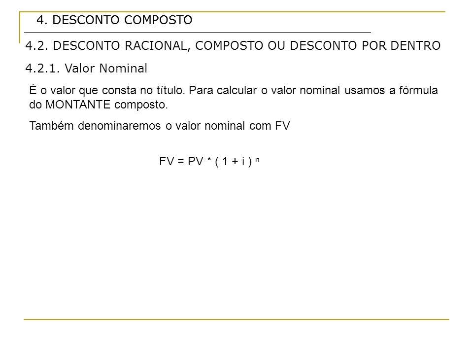 4. DESCONTO COMPOSTO4. DESCONTO COMPOSTO. 4.2. DESCONTO RACIONAL, COMPOSTO OU DESCONTO POR DENTRO. 4.2.1. Valor Nominal.
