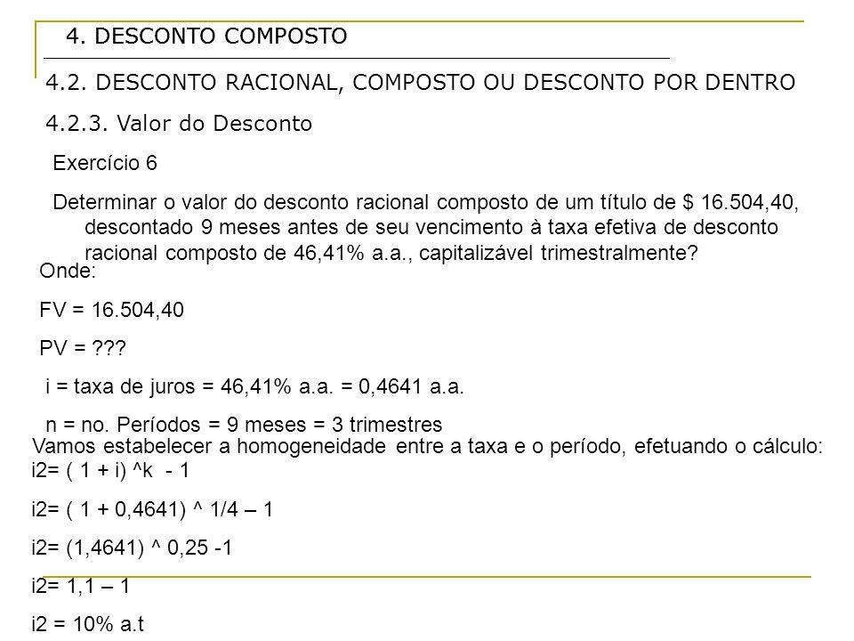 4. DESCONTO COMPOSTO 4. DESCONTO COMPOSTO. 4.2. DESCONTO RACIONAL, COMPOSTO OU DESCONTO POR DENTRO.