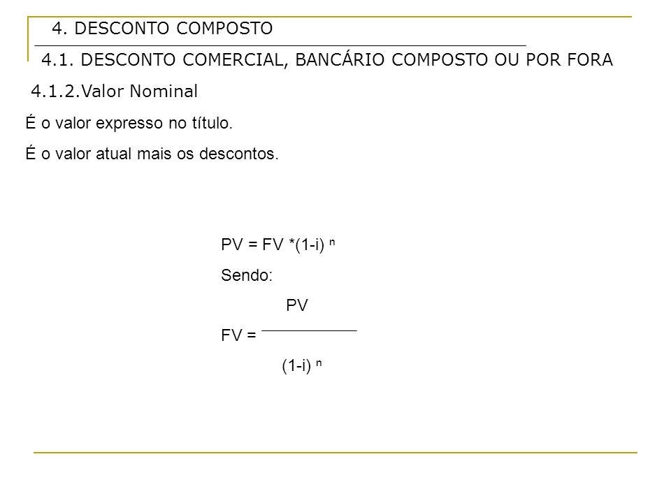 4. DESCONTO COMPOSTO4.1. DESCONTO COMERCIAL, BANCÁRIO COMPOSTO OU POR FORA. 4.1.2.Valor Nominal. É o valor expresso no título.