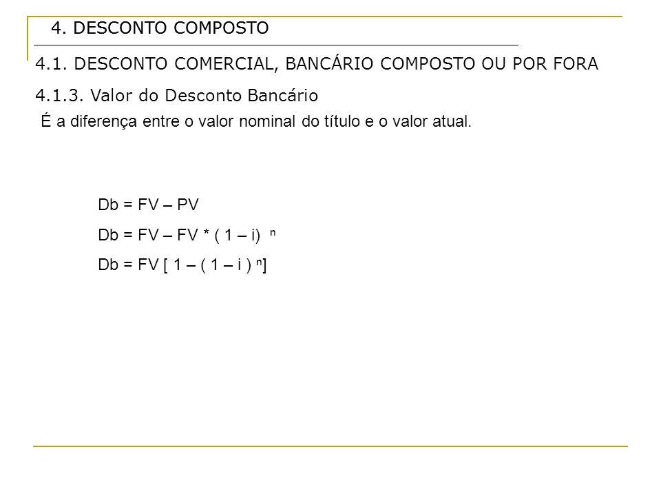 4. DESCONTO COMPOSTO4. DESCONTO COMPOSTO. 4.1. DESCONTO COMERCIAL, BANCÁRIO COMPOSTO OU POR FORA. 4.1.3. Valor do Desconto Bancário.