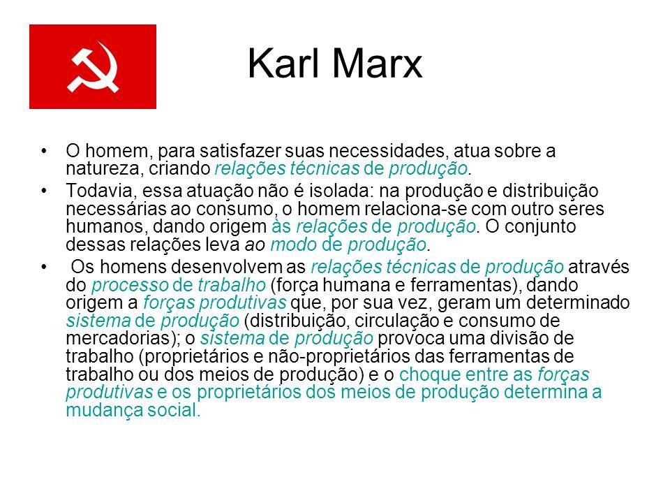 Karl MarxO homem, para satisfazer suas necessidades, atua sobre a natureza, criando relações técnicas de produção.