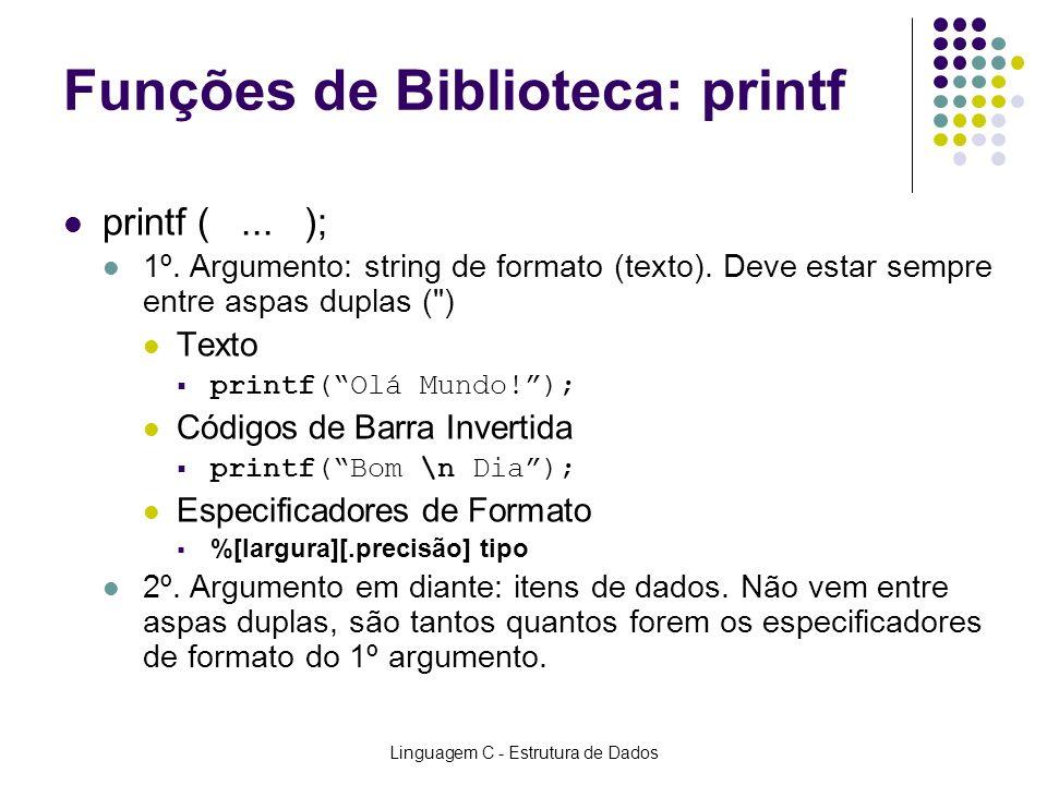 Funções de Biblioteca: printf