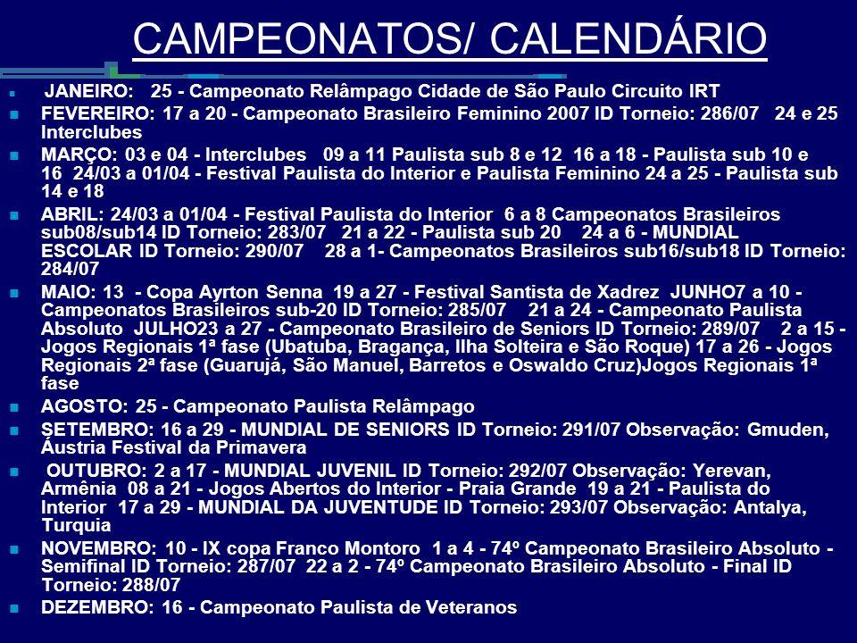 CAMPEONATOS/ CALENDÁRIO