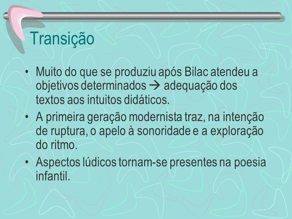Transição Muito do que se produziu após Bilac atendeu a objetivos determinados  adequação dos textos aos intuitos didáticos.