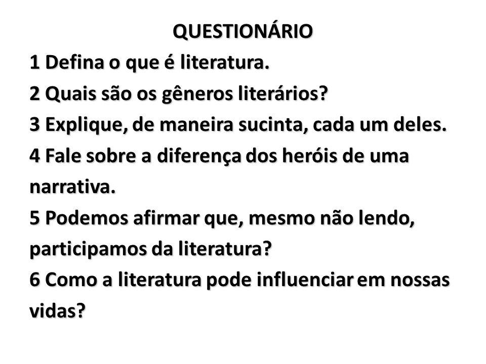 QUESTIONÁRIO 1 Defina o que é literatura