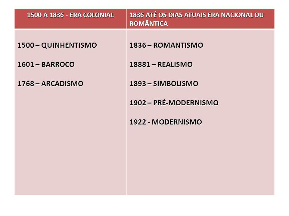1500 – QUINHENTISMO 1601 – BARROCO 1768 – ARCADISMO 1836 – ROMANTISMO