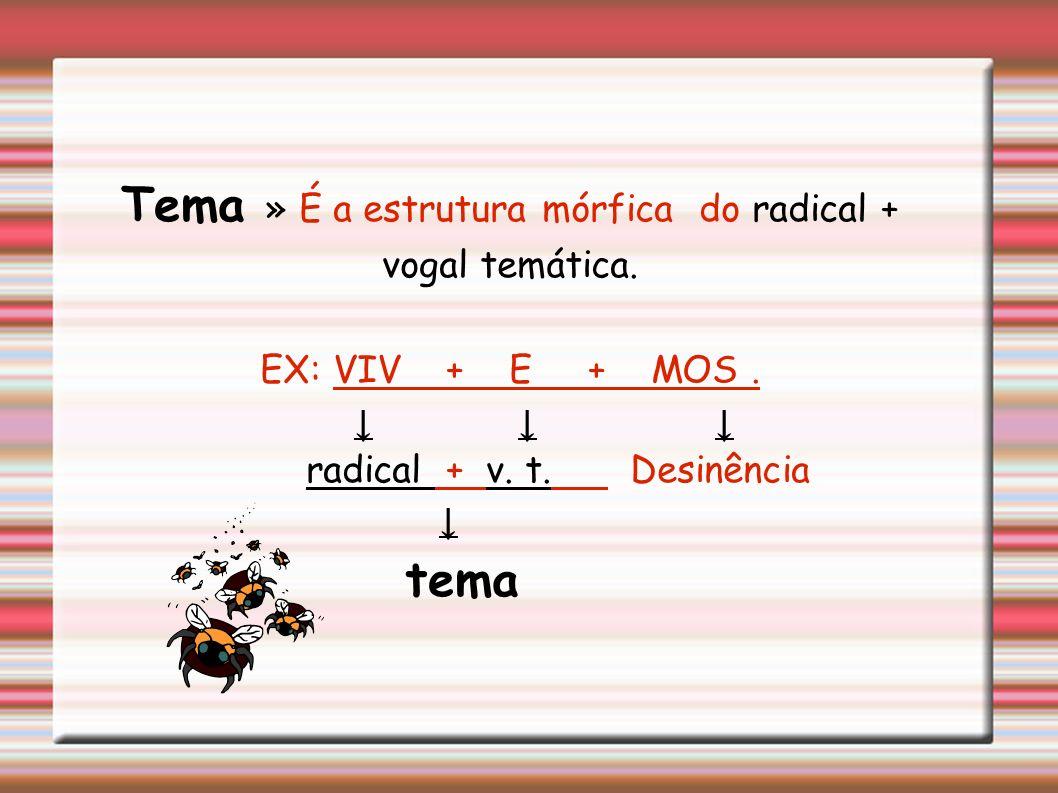 Tema » É a estrutura mórfica do radical + vogal temática.