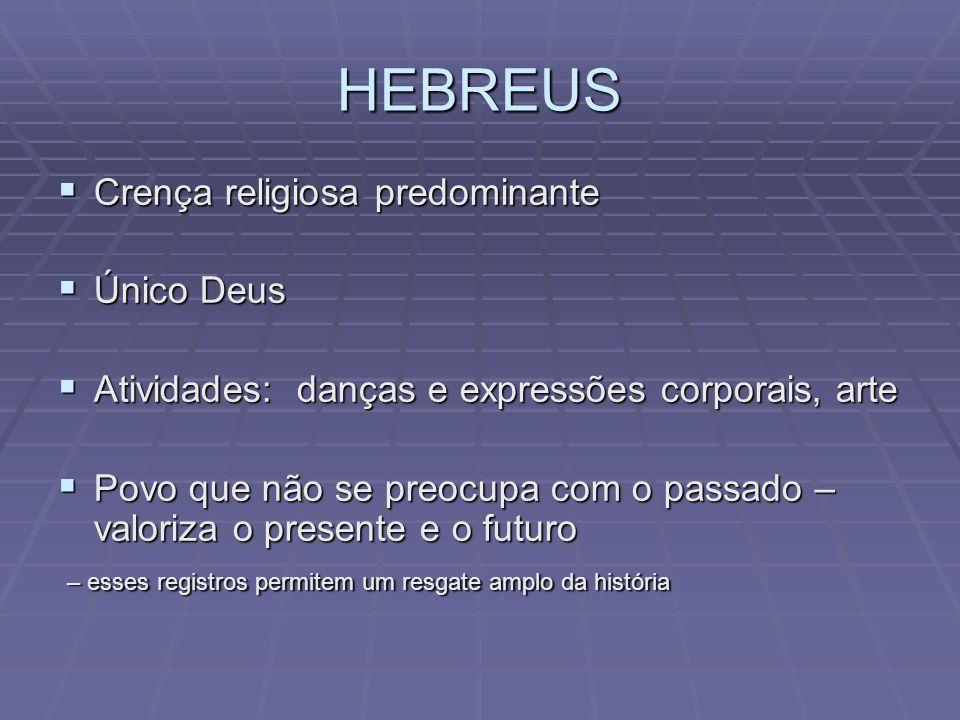 HEBREUS Crença religiosa predominante Único Deus