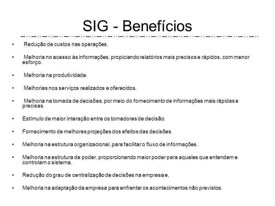 SIG - Benefícios Redução de custos nas operações.